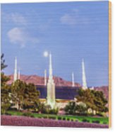 Las Vegas Temple Moon Wood Print