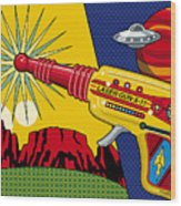 Laser Gun Wood Print by Ron Magnes
