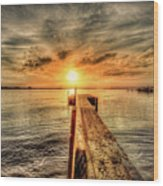 Last Call At Sunset Dock Wood Print