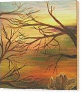 Last Leaf Of Fall Wood Print
