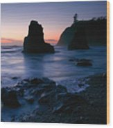 Last Light At Ruby Beach Wood Print