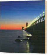 Last Light Grand Haven Michigan Wood Print