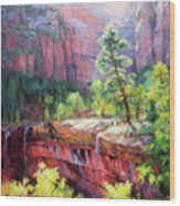 Last Light In Zion Wood Print