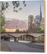 Last Light On Notre Dame De Paris Wood Print