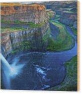 Last Light On Palouse Falls Wood Print