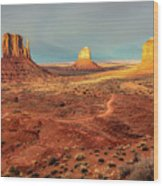 Last Light Over Monument Valley Wood Print