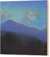 Last Light With Moonrise Over Iron Mountain Wood Print