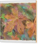 Last Of The Fall Leaves Abstract Digital Art Wood Print
