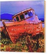 Last Red Boat Wood Print