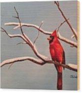 Last Snow Of Winter, Cardinal Wood Print