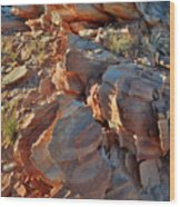 Last Sunlight On Jagged Sandstone In Valley Of Fire Wood Print