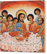 Last Supper Angels Wood Print