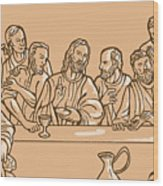 last supper of Jesus Christ Wood Print by Aloysius Patrimonio