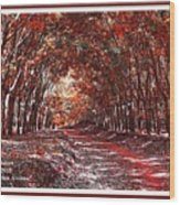 Late Autumn Avenue H A With Decorative Ornate Printed Frame. Wood Print