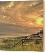 Late Day Beach Wood Print