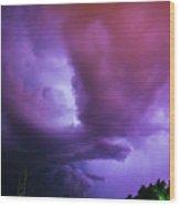 Late Night Nebraska Shelf Cloud 002 Wood Print