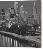 Late Night Philly Grayscale Wood Print