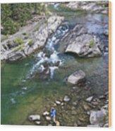 Late Season Fishing On The Gros Ventre Wood Print by Drew Rush