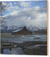 Late Snow On South Moulton Barn Wood Print