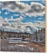 Late Winter At The Tobie Trail Bridge Wood Print