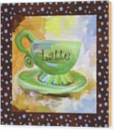 Latte Coffee Cup With Blue Dots Wood Print