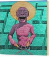 Laughing Gardener Wood Print
