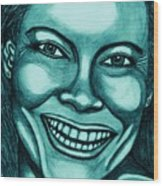 Laughing Girl In Blue 2 Wood Print
