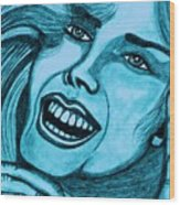 Laughing Girl In Blue Wood Print