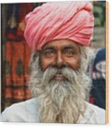 Laughing Indian Man In Turban Wood Print