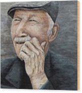 Laughing Old Man Wood Print