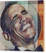 Laughing President Obama V2 Wood Print