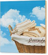 Laundry Basket  Against A Blue Sky Wood Print by Sandra Cunningham