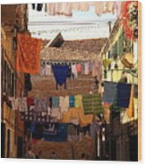 Laundry Day in Venice Wood Print