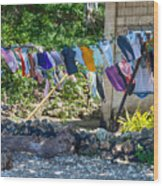 Laundry Drying In The Wind Wood Print