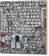 Laundry Line - Dubrovnik Croatia #3 Wood Print