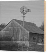 Laurel Road Barn In Black And White Wood Print