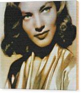 Lauren Bacall - Vintage Painting Wood Print
