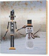 Laurence Builds A Snowman Wood Print