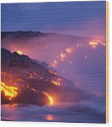 Lava At Twilight Wood Print