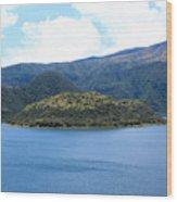 Lava Dome Island In Lake Cuicocha Wood Print