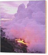 Lava Enters Ocean Wood Print