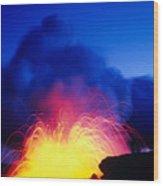 Lava Explodes Wood Print