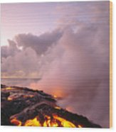 Lava Flows At Sunrise Wood Print by Peter French - Printscapes