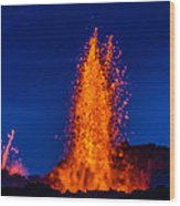 Lava Fountains At The Holuhraun Fissure Wood Print