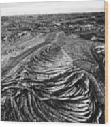 Lava Landscape - Bw Wood Print