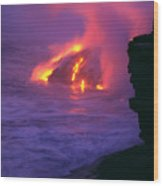 Lava Meets Ocean Action Wood Print