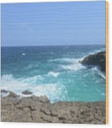 Lava Rock Cliffs And Crashing Ocean Waves In Aruba Wood Print