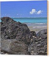Lava Rocks At Haena Beach Wood Print