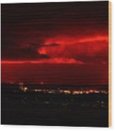 Lava Skies Over Hilo Bay Wood Print