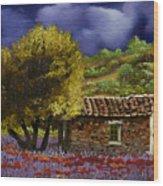 Lavanda Sotto Il Cielo Blu Wood Print